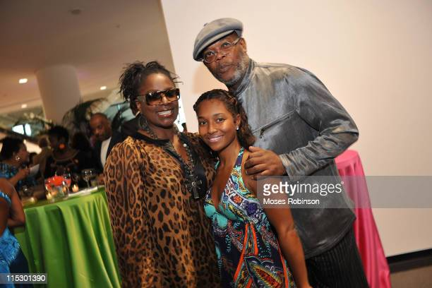 Actress LaTanya Richardson Rozonda 'Chilli' Thomas and actor Samuel L Jackson attend the NBAF midsummer gala Brazilian Cool at Americas Mart on...