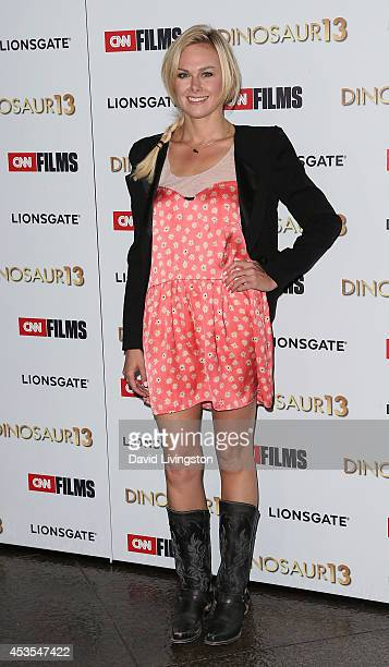 Actress Laura Bell Bundy attends the premiere of Lionsgate and CNN Films' Dinosaur 13 at the DGA Theater on August 12 2014 in Los Angeles California