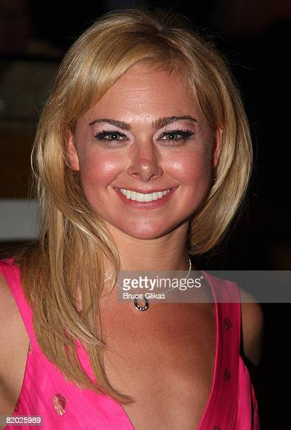 """Actress Laura Bell Bundy poses at the after-party for Laura Bell Bundy and Andy Karl leaving """"Legally Blonde"""" on Broadway at Spotlight Live! on July..."""
