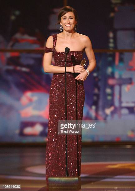Actress Laura Benanti accepts the Tony for Best Performance by a Featured Actress In a Musical on stage during the 62nd Annual Tony Awards at Radio...