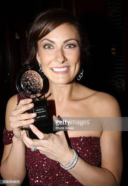 Actress Laura Benanti poses with her award in the press room at the 62nd Annual Tony Awards on June 15 2008 at the Rainbow Room in New York