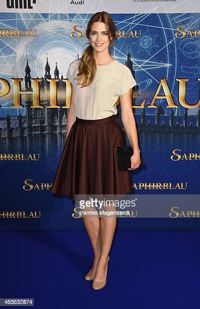 Actress Laura Berlin attends the Munich premiere of the film 'Saphirblau' at Mathaeser Filmpalast on August 12 2014 in Munich Germany