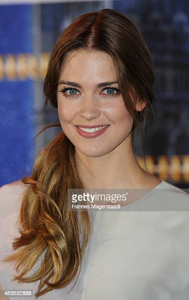 Actress Laura Berlin attends the Munich premiere of the film 'Saphirblau' at Mathaeser Filmpalast on August 12, 2014 in Munich, Germany.