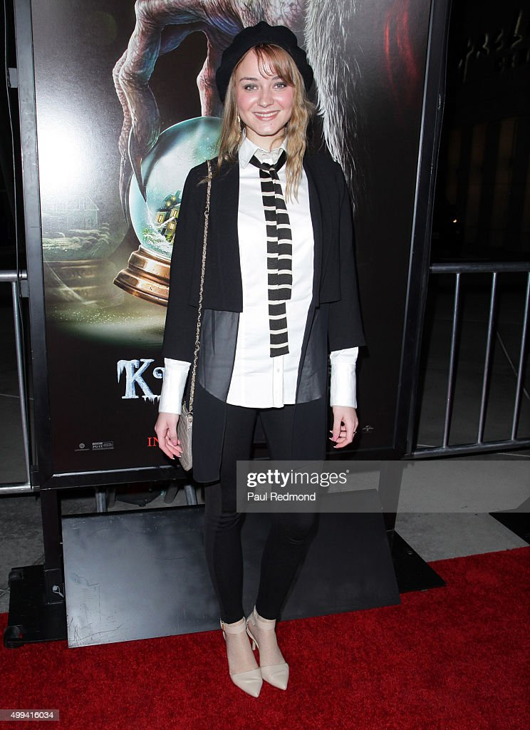 Actress Laura Bilgeri arrives at the screening of Universal Pictures' 'Krampus' at ArcLight Cinemas on November 30, 2015 in Hollywood, California.