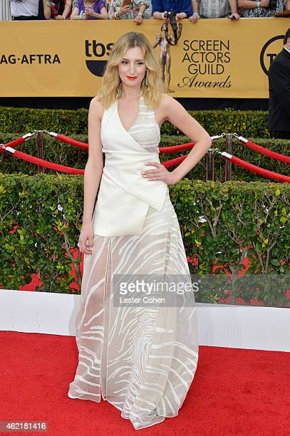 Actress Laura Carmichael attends the 21st Annual Screen Actors Guild Awards at The Shrine Auditorium on January 25, 2015 in Los Angeles, California.