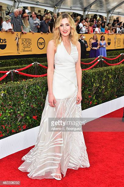 Actress Laura Carmichael attends the 21st Annual Screen Actors Guild Awards at The Shrine Auditorium on January 25 2015 in Los Angeles California