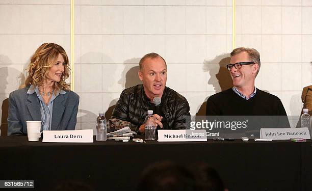 Actress Laura Dern actor Michael Keaton and director John Lee Hancock attend a press conference for 'The Founder' at The London Hotel on January 12...