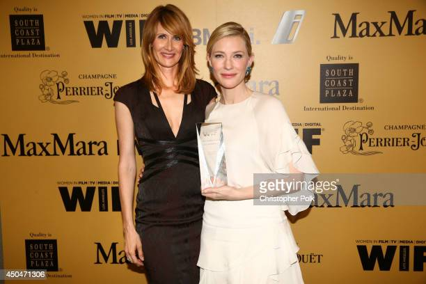 Actress Laura Dern and actress Cate Blanchett Crystal Award for Excellence in Film award recipient attend Women In Film 2014 Crystal Lucy Awards...