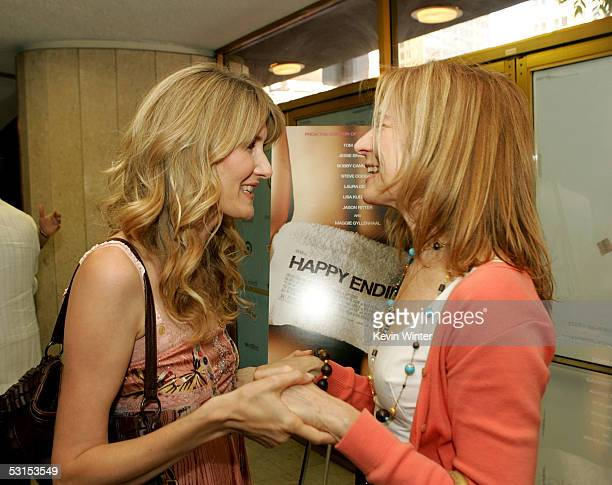 Actress Laura Dern and Executive Director of IFP West Dawn Hudson arrive at the Los Angeles Film Festival Premiere of Happy Endings at the Mann's...