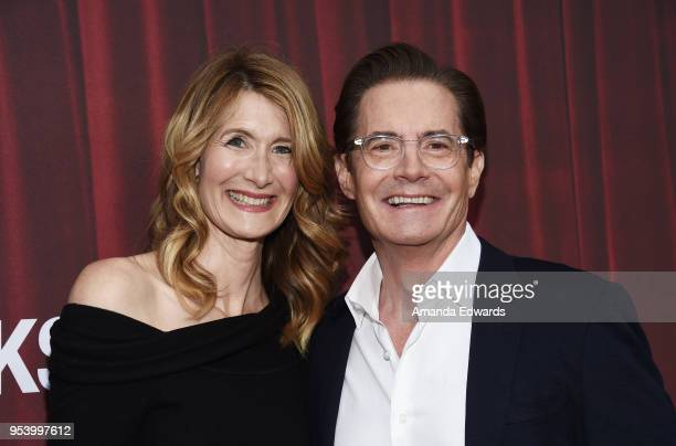 Actress Laura Dern and Kyle MacLachlan arrive at the For Your Consideration Event for Showtime's 'Twin Peaks' at Paramount Theatre on May 2 2018 in...