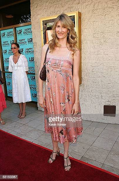 Actress Laura Dern arrives at the Los Angeles Film Festival Premiere of Happy Endings at the Manns National Theatre on June 26 2005 in Westwood...