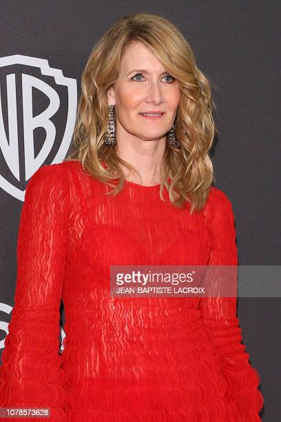 US actress Laura Dern arrives for the Warner Bros and In Style 20th annual post Golden Globes party at the Oasis Courtyard of the Beverly Hilton...