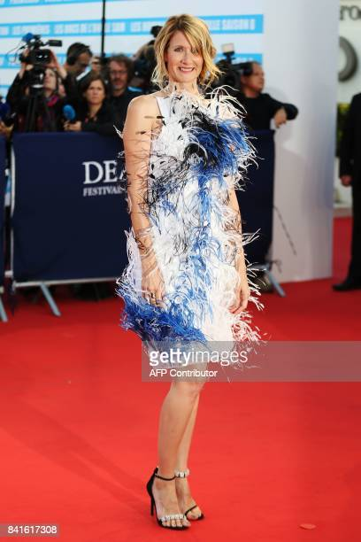 US actress Laura Dern poses on the red carpet before the opening ceremony of the 43rd Deauville US Film Festival on September 1 2017 in the French...