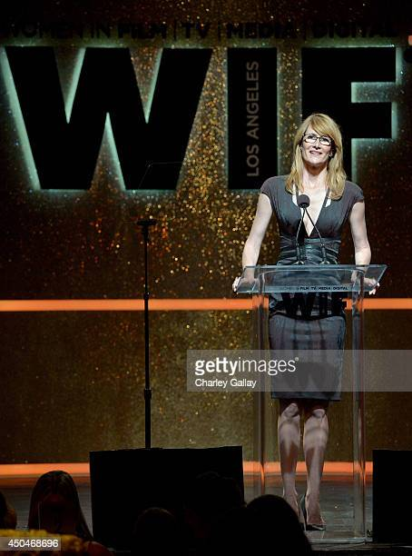 Actress Laura Dern speaks onstage at Women In Film 2014 Crystal Lucy Awards presented by MaxMara BMW PerrierJouet and South Coast Plaza held at the...