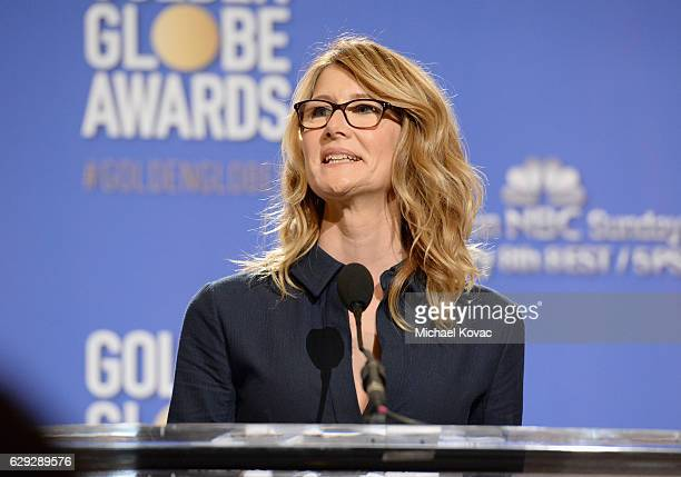 Actress Laura Dern speaks onstage during Moet Chandon toast to the 74th Annual Golden Globe Awards nominations on December 12 2016 in Los Angeles...