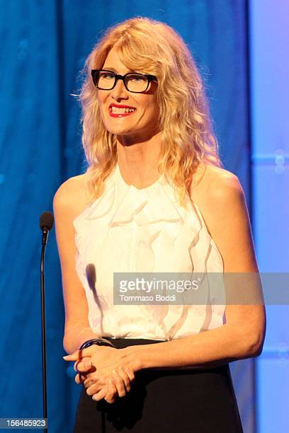Actress Laura Dern speaks onstage during the 26th American Cinematheque Award Gala honoring Ben Stiller at The Beverly Hilton Hotel on November 15...