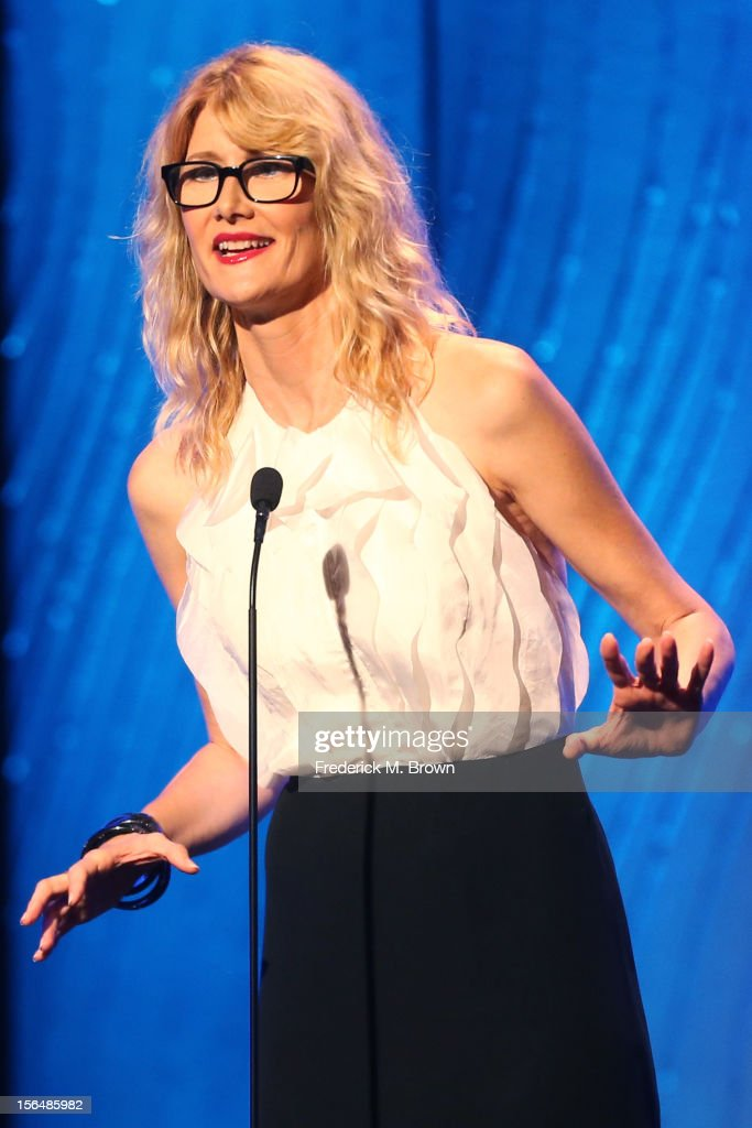 Actress Laura Dern speaks onstage during the 26th American Cinematheque Award Gala honoring Ben Stiller at The Beverly Hilton Hotel on November 15, 2012 in Beverly Hills, California.
