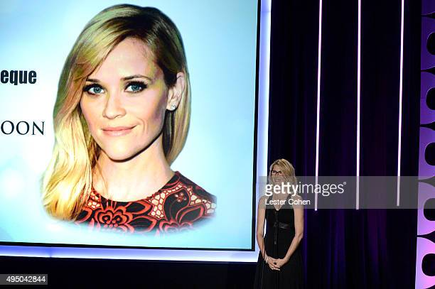 Actress Laura Dern speaks onstage during the 29th American Cinematheque Award honoring Reese Witherspoon at the Hyatt Regency Century Plaza on...