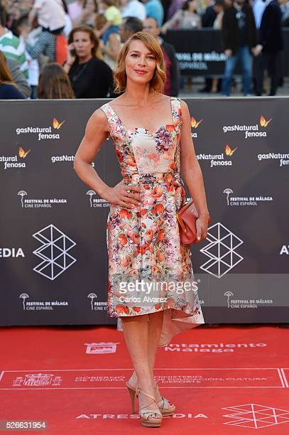 Actress Laura Dominguez attends Nuestros Amantes premiere at the Cervantes Teather during the 19th Malaga Film Festival on April 30 2016 in Malaga...