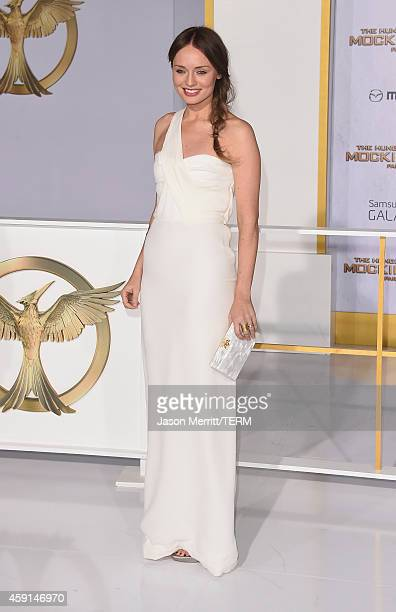 Actress Laura Haddock attends the Premiere of Lionsgate's The Hunger Games Mockingjay Part 1 at Nokia Theatre LA Live on November 17 2014 in Los...