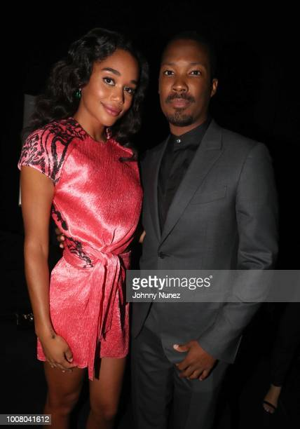 Actress Laura Harrier and actor Corey Hawkins attend the 'BlacKkKlansman' New York Premiere at Brooklyn Academy of Music on July 30 2018 in New York...
