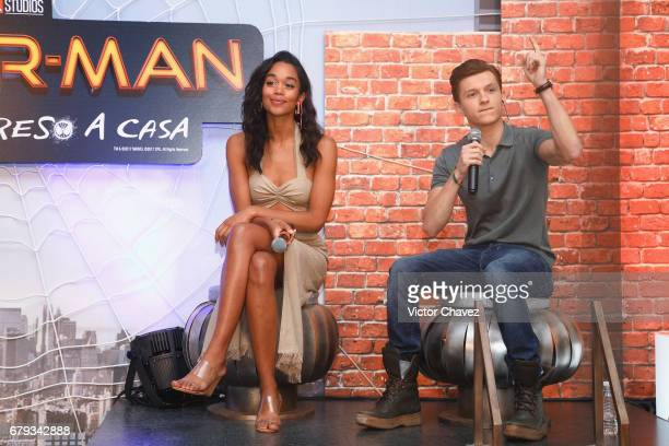 Actress Laura Harrier and actor Tom Holland attend Los 40 Principales fan event to promote the new film SpiderMan Homecoming at St Regis Hotel on May...