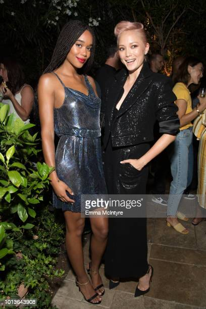 Actress Laura Harrier and Pom Klementieff attend the after party for the premiere of Focus Features' 'BlaKkKlansman' at Samuel Goldwyn Theater on...
