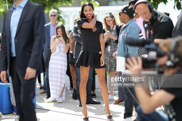 US actress Laura Harrier arrives on May 15 2018 for a photocall for the film BlacKkKlansman at the 71st edition of the Cannes Film Festival in Cannes...