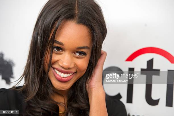 """Actress Laura Harrier attends the """"All My Children"""" & """"One Life To Live"""" premiere at Jack H. Skirball Center for the Performing Arts on April 23,..."""