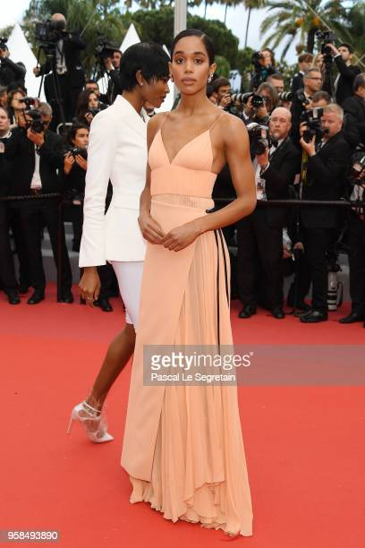Actress Laura Harrier attends the screening of Blackkklansman during the 71st annual Cannes Film Festival at Palais des Festivals on May 14 2018 in...