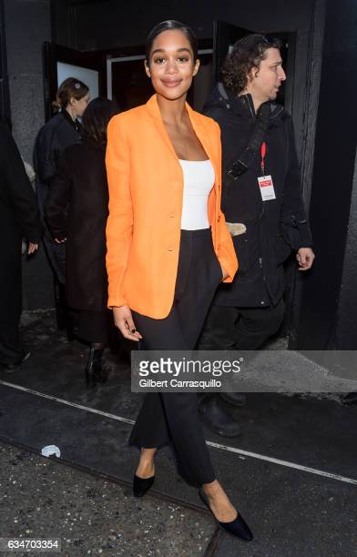 Actress Laura Harrier is seen arriving at the Calvin Klein Collection fashion show with new chief creative officer Raf Simons during New York Fashion...