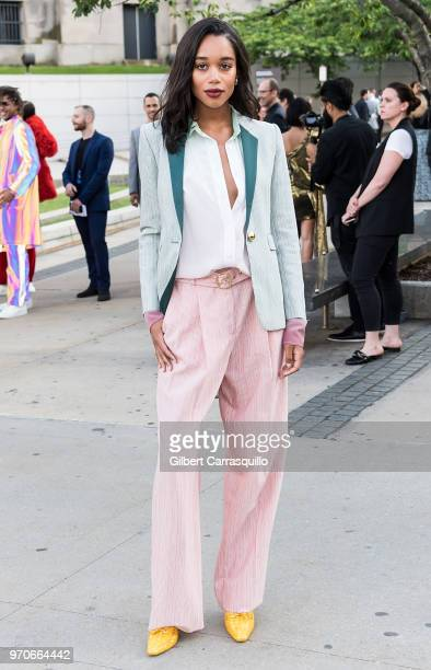 Actress Laura Harrier is seen arriving to the 2018 CFDA Fashion Awards at Brooklyn Museum on June 4 2018 in New York City