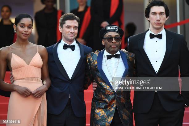 US actress Laura Harrier US actor Topher Grace US director Spike Lee and US actor Adam Driver pose as they arrive on May 14 2018 for the screening of...