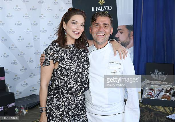 Actress Laura Harring and chef Filippo Sinisgalli attend PILOT PEN GBK's PreEmmy Luxury Lounge Day 1 at L'Ermitage Beverly Hills Hotel on September...