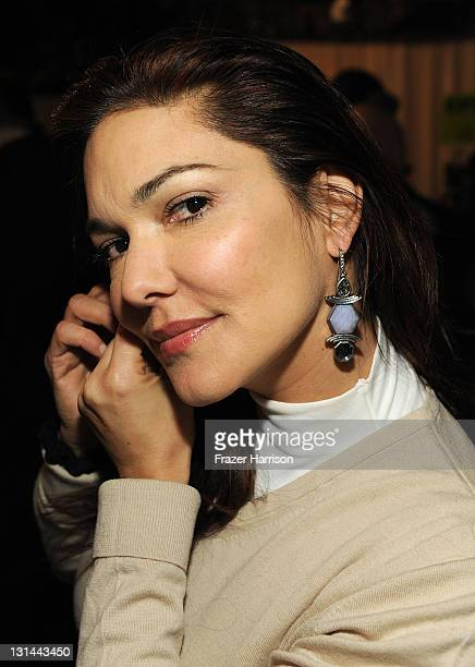 Actress Laura Harring flashing her new lia sophia bling at the Samsung Galaxy Tab Lift on January 22 2011 in Park City Utah