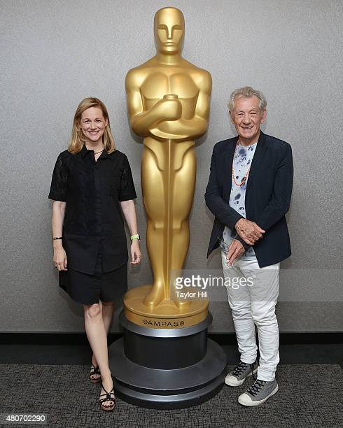 Actress Laura Linney and actor Sir Ian McKellen arrive to The Academy Of Motion Picture Arts And Sciences Hosts An Official Academy Screening Of Mr...