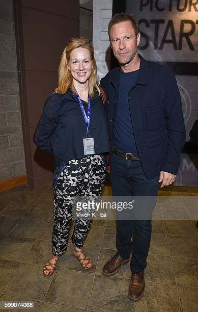 Actress Laura Linney and ator Aaron Eckhart attend a screening of 'Sully' at the Telluride Film Festival 2016 on September 3 2016 in Telluride...