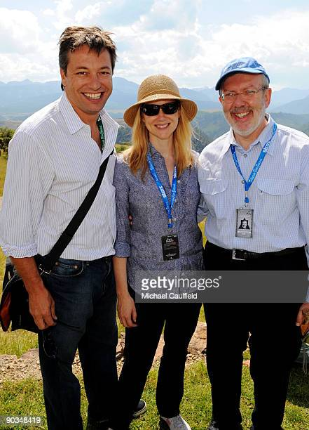 Actress Laura Linney and husband Marc Schauer and Leonard Maltin attend the Patron's Brunch during the 36th Telluride Film Festival held at the Opera...