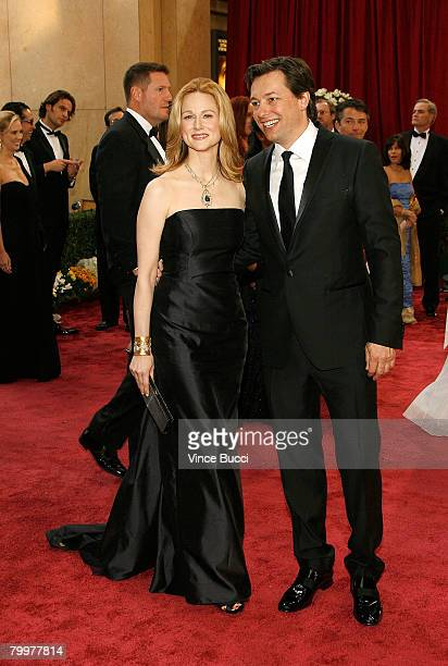 Actress Laura Linney and Marc Schauer arrive at the 80th Annual Academy Awards held at the Kodak Theatre on February 24 2008 in Hollywood California