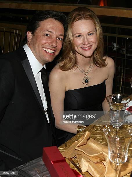 Actress Laura Linney and Marc Schauer attend the Governor's Ball following the 80th Annual Academy Awards held at The Highlands on February 24 2008...