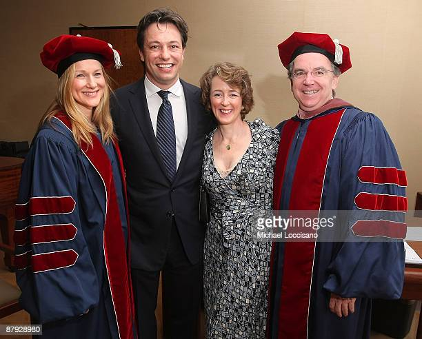 Actress Laura Linney husband Marc Schauer Joyce O'Connor and husband Julliard's Director of the Drama Division James Houghton attend Julliard's 104th...