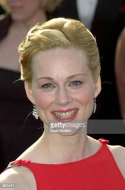 Actress Laura Linney wearing a red Valentino gown arrives for the 73rd Annual Academy Awards March 25 2001 at the Shrine Auditorium in Los Angeles...