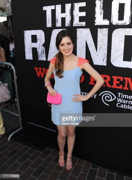 Actress Laura Marano arrives at the premiere of Walt Disney Pictures' 'The Lone Ranger' at Disney California Adventure Park on June 22 2013 in...