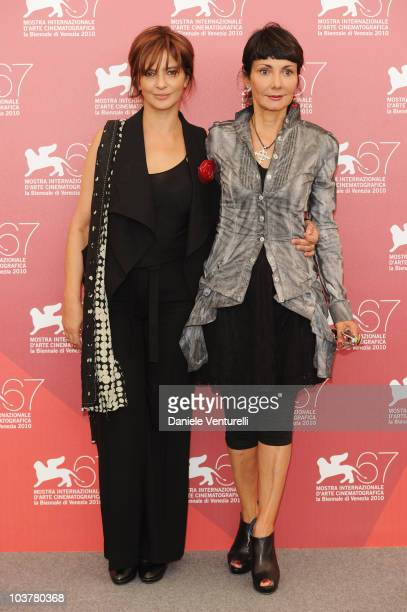 Actress Laura Morante and director Elisabetta Sgarbi attends the 'Se Hai Una Montagna Di Neve Tienila All'Ombra' photocall at the Palazzo del Casino...