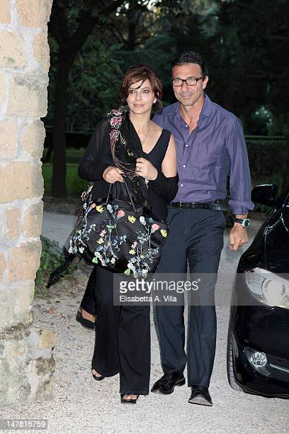 Actress Laura Morante and husband Francesco Giammatteo attend 2012 Globo d'Oro Italian Golden Globes Award at Villa Massimo on July 3 2012 in Rome...