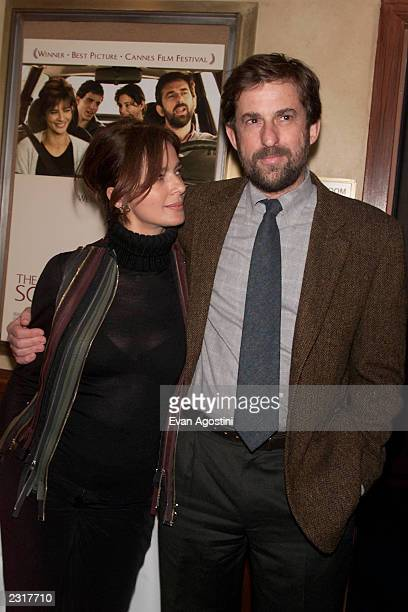 Actress Laura Morante with writer/director/actor Nanni Moretti attending a screening of The Son's Room at the Tribeca Screening Room in New York City...