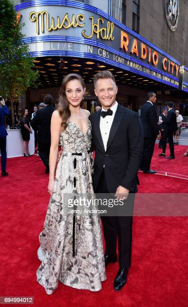 Actress Laura Osnes and photographer Nathan Johnson attend the 2017 Tony Awards at Radio City Music Hall on June 11, 2017 in New York City.
