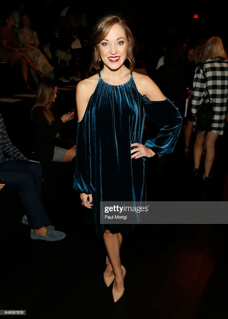 Actress Laura Osnes attends the Badgley Mischka fashion show during New York Fashion Week: The Shows at Gallery 1, Skylight Clarkson Sq on September 12, 2017 in New York City.