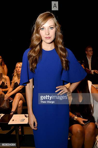 Actress Laura Osnes attends the Carmen Marc Valvo Spring/Summer 2017 Fashion Show during New York Fashion Week at Pier 59 Studios on September 11...