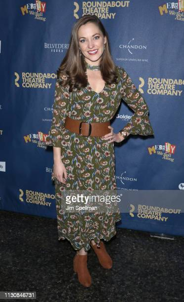 Actress Laura Osnes attends the Merrily We Roll Along opening night at Laura Pels Theatre on February 19 2019 in New York City